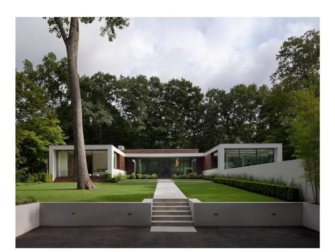 Fascinating home among the forest simple lawn and modern