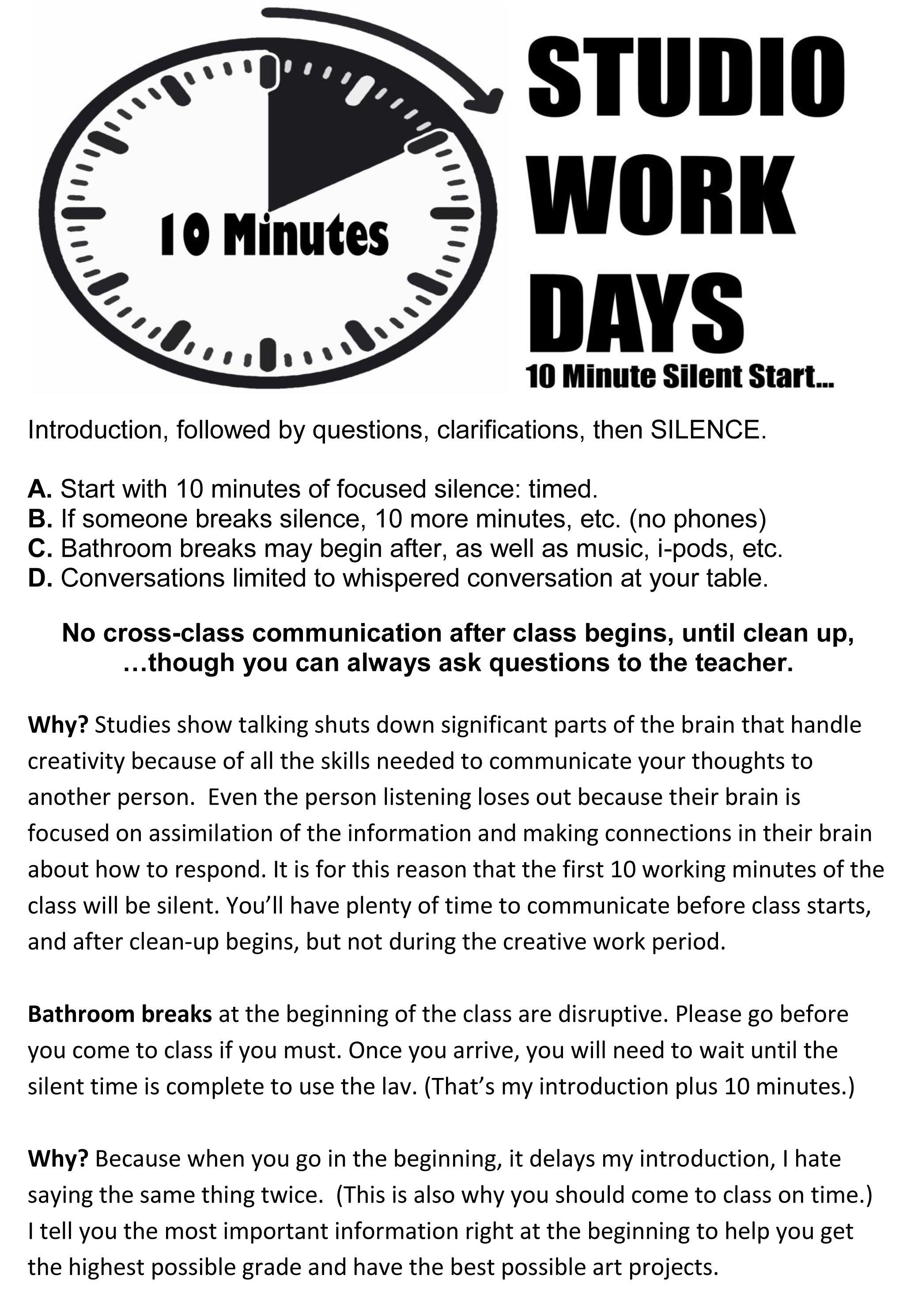 Silent Ten Minutes Studio Art Handout
