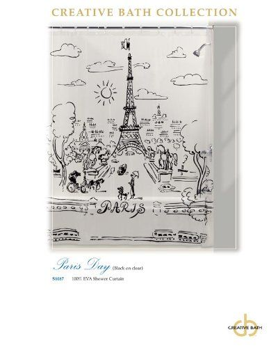 Paris Day - Shower Curtain - Black Design on Clear Vinyl Curtain ...