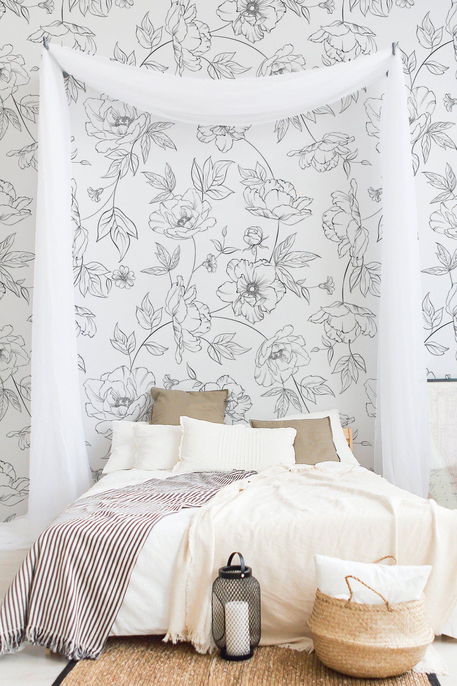 Grey Floral Wallpaper Floral Nursery Wallpaper Floral Removable Wallpaper Peel And Stick Wallpaper With Floral Print For Nursery Wfl093 Grey Floral Wallpaper Floral Wallpaper Nursery Floral Wall