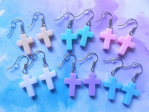 Pastel Goth Cross Earrings  Kawaii Cross by MizziexoxoBoutique