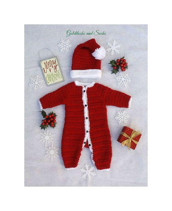 58fb3caaef9b Baby Santa outfit crochet Santa suit newborn by GoldilocksandSocks ...