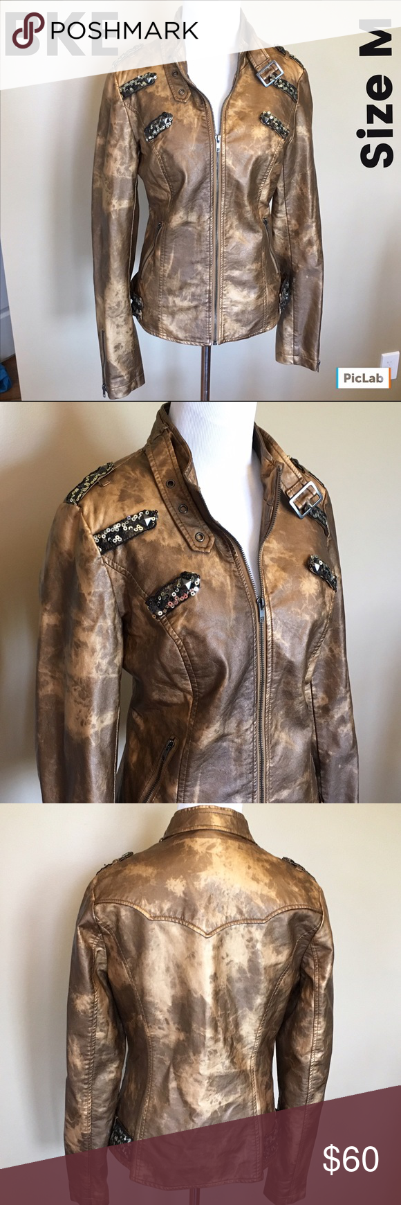 BKE Faux Leather Jacket Size M Perfect for fall - distressed leather look with sequins and Bling! Excellent Condition! BKE Jackets & Coats