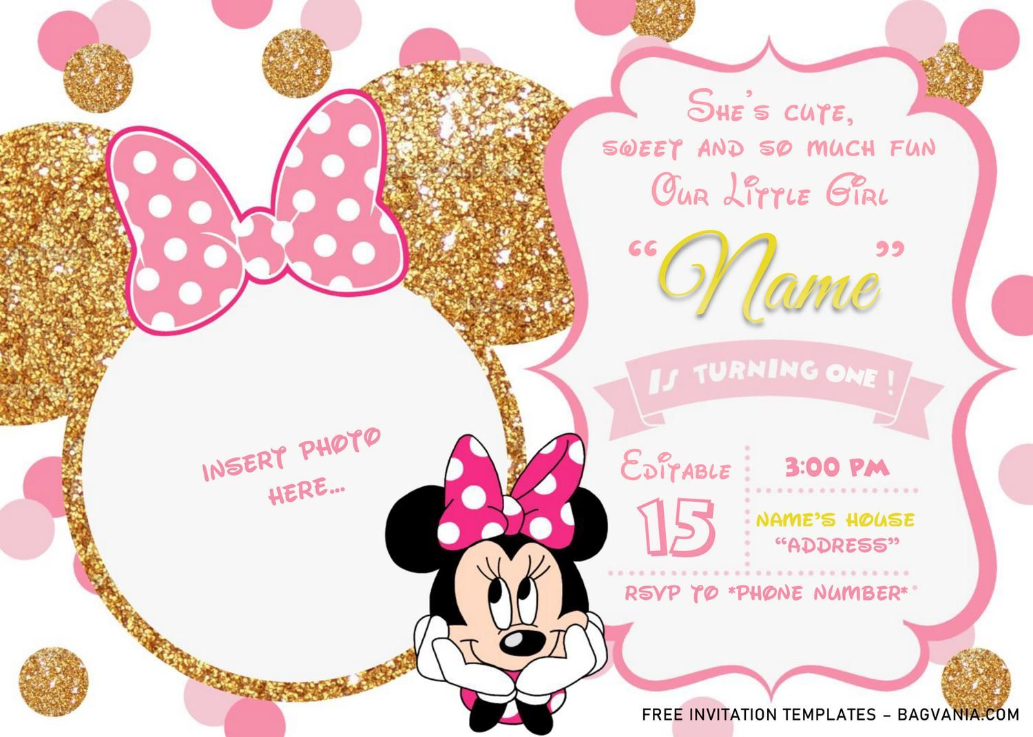 Pink And Gold Minnie Mouse Birthday Invitation Templates Editable Doc Minnie Mouse Invitations Minnie Mouse Birthday Invitations Minnie Birthday Invitations