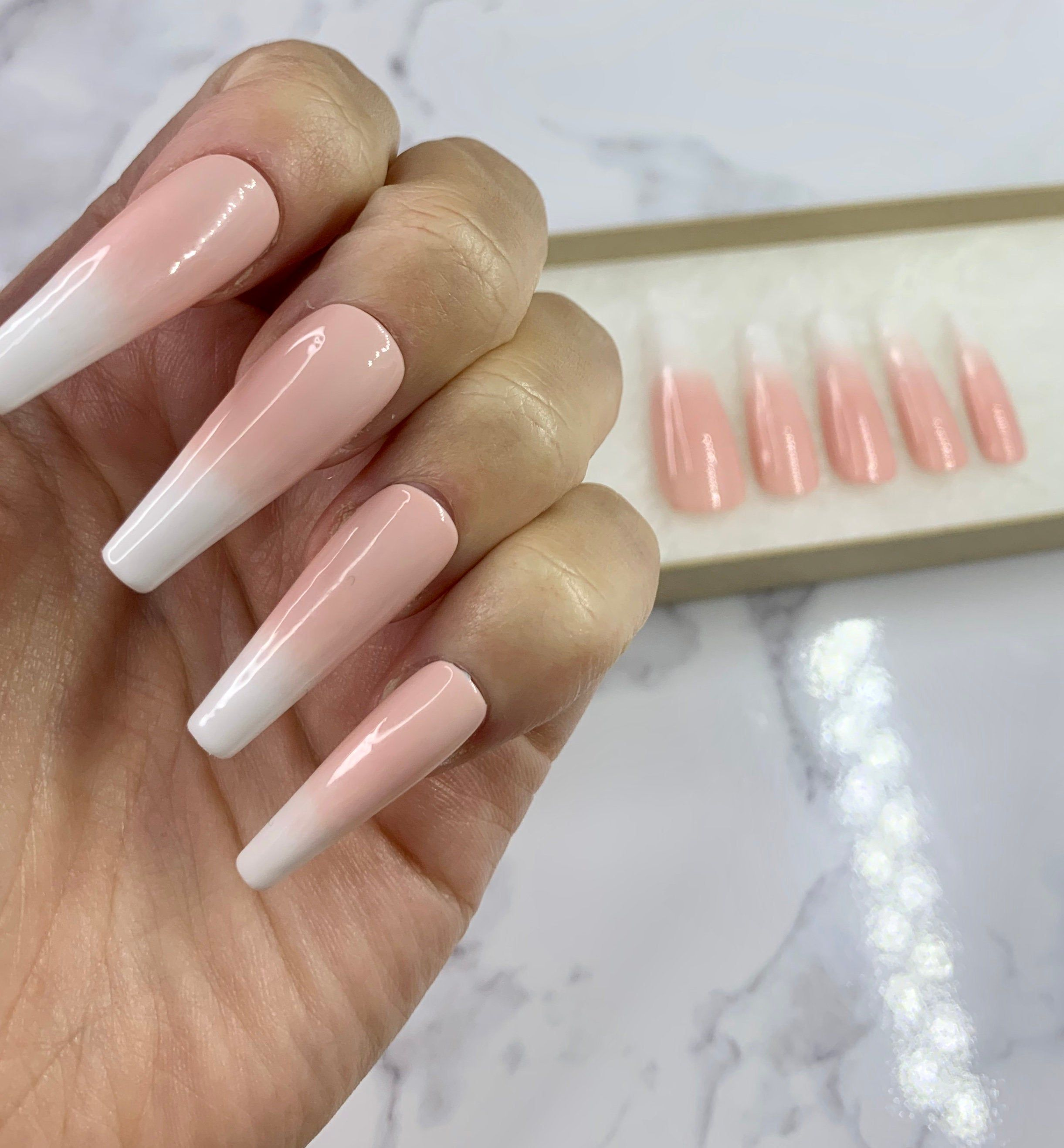 Excited To Share The Latest Addition To My Etsy Shop Pink Baby Boomer Press On Nails Ombre Extra Long Fake Nails Ballerina Nagel Falsche Nagel Nagel Sarg