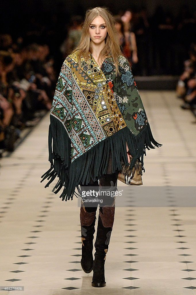 Burberry Prorsum Autumn Winter 2015 - London Fashion Week on February 23, 2015 in London, United Kingdom. - tassled ponchos with mirror work