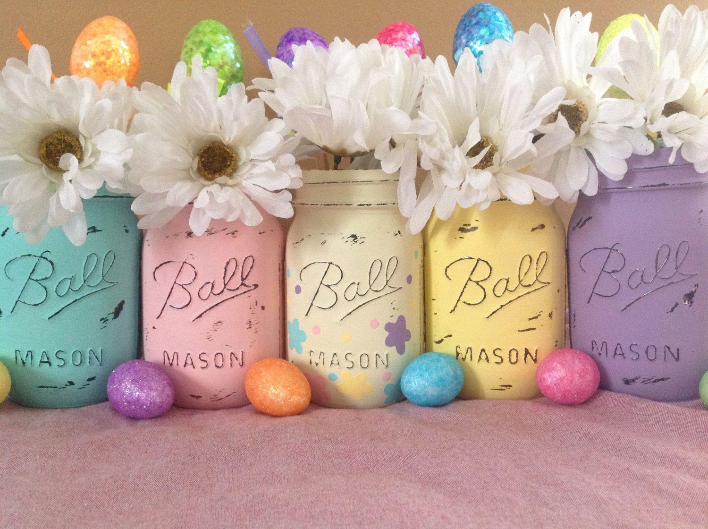 Set of 5 Easter Mason Jars, Mason Jars, Easter Decor, Easter ...