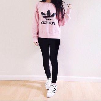 Awesome Cute looks camisa rosa Adidas Jersey addias suéter lindo
