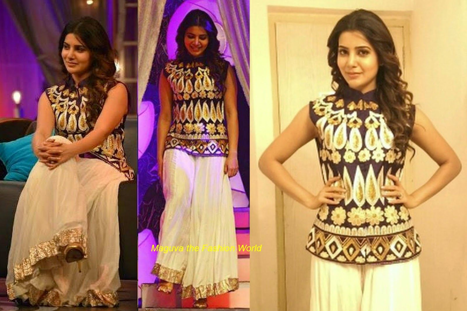 Samantha Attended Telugu Tv Show Koncham Touch Lo Unte Chepta In White Sharara Paired Up With Blue Golder Floral Embro Jacket Design Fashion Western Wear