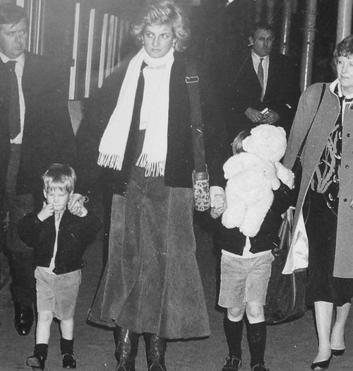 Princess Diana circa 1988.. Princess Diana and the boys. Ken Wharfe is on her right.