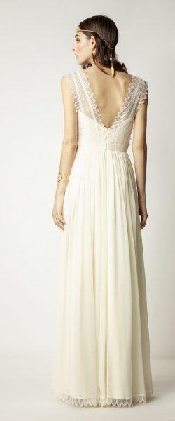 gefunden bei HAPPY BRAUTMODEN         Brautkleid Hochzeitskleid Vintage Boho Rembo Styling fließender Rock Spitze tiefer Rücken