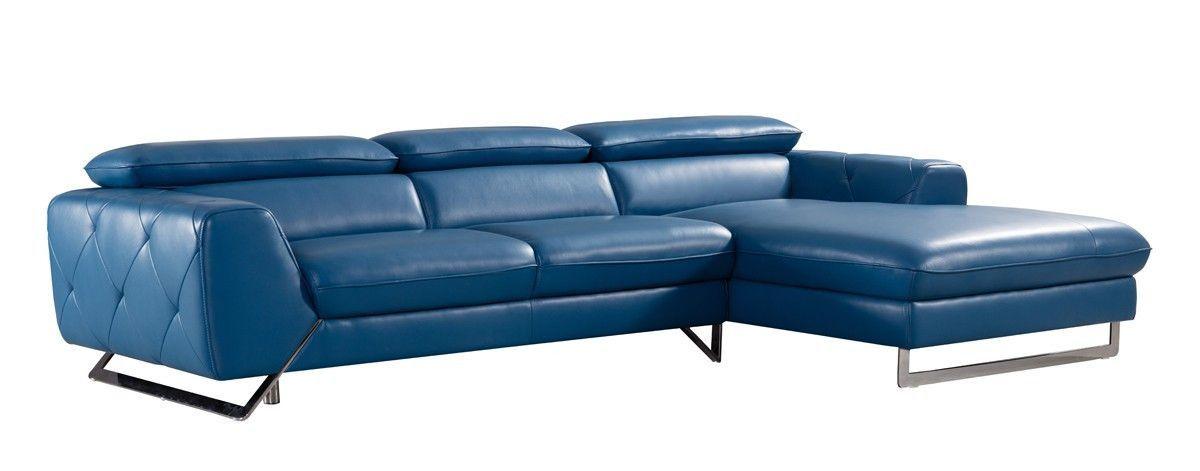 Surprising Divani Casa Devon Modern Blue Leather Sectional Sofa Vgziwa Creativecarmelina Interior Chair Design Creativecarmelinacom