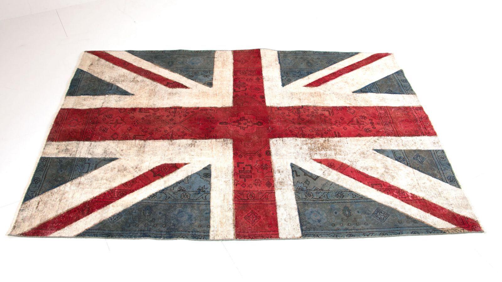 Vintagematta med engelsk flagga. Vintage, matta, röd, blå, vit ...