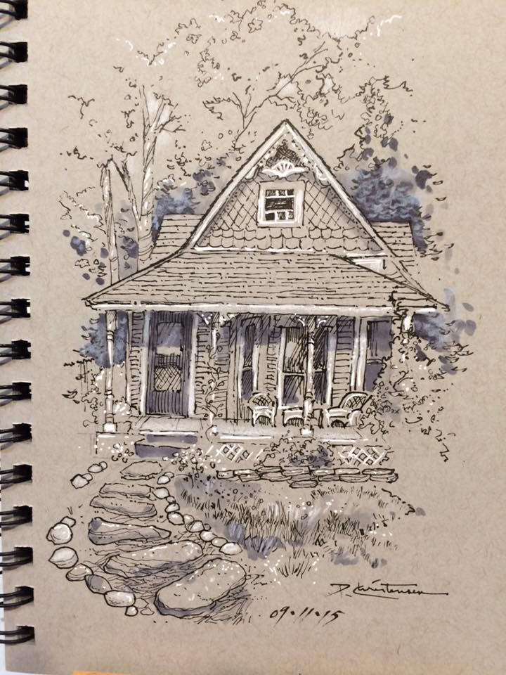 Love The Drawing On Toned Paper Simple House Shapes