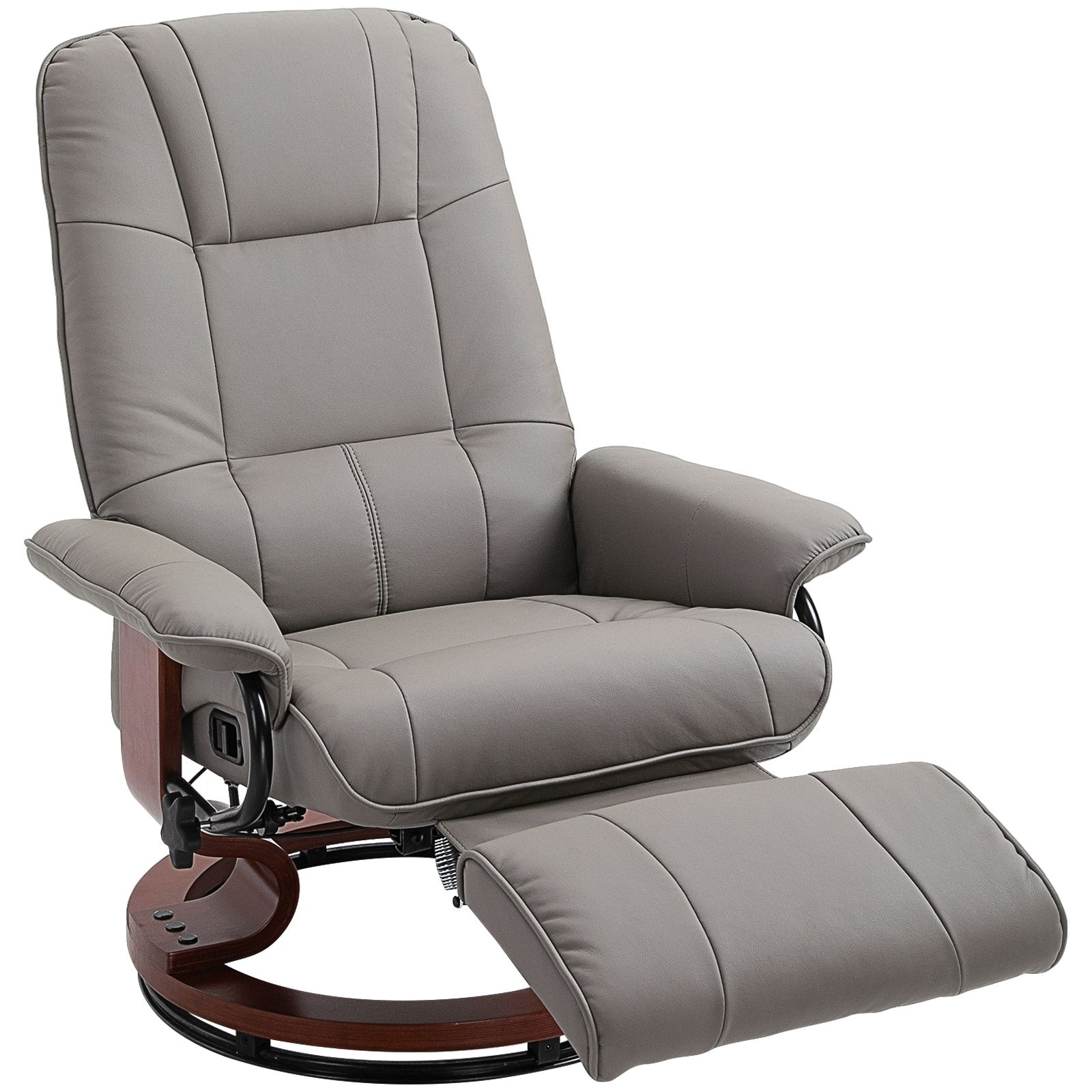 Faux Leather Adjustable Manual Swivel Base Recliner