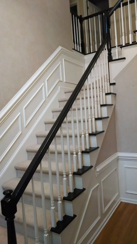 Best Refinishing 2 Story Foyer Stairs From Old Brown To Black 400 x 300