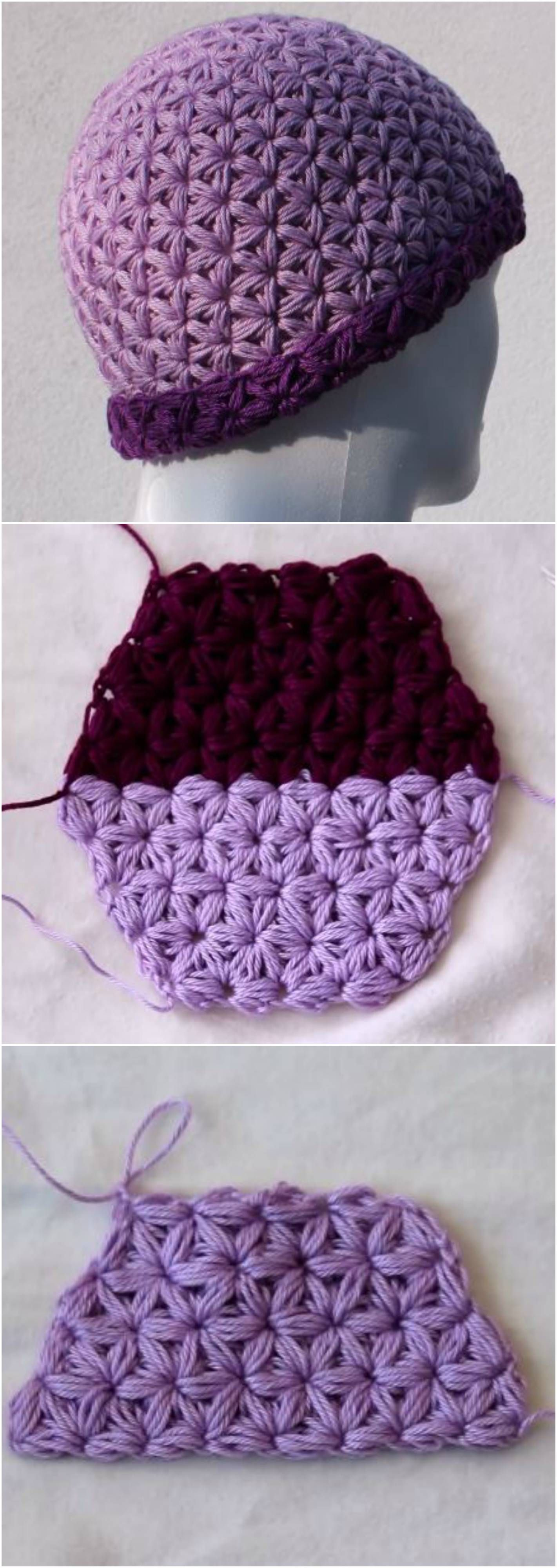 Crochet Triangle Star Stitch Hat | Gorros y Capilla