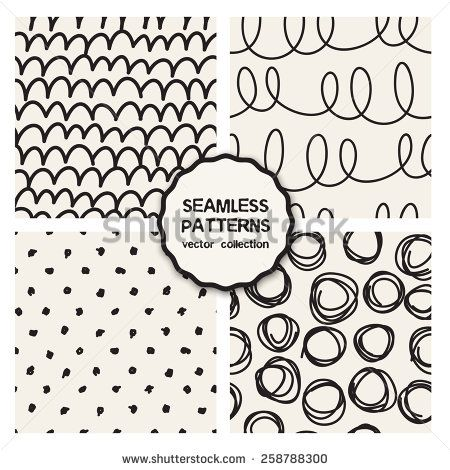 Vector set of four seamless patterns. Sketch backgrounds with waves, arches, rings and polka dots. Hand drawn hipster prints with doodles. Modern graphic design. - stock vector