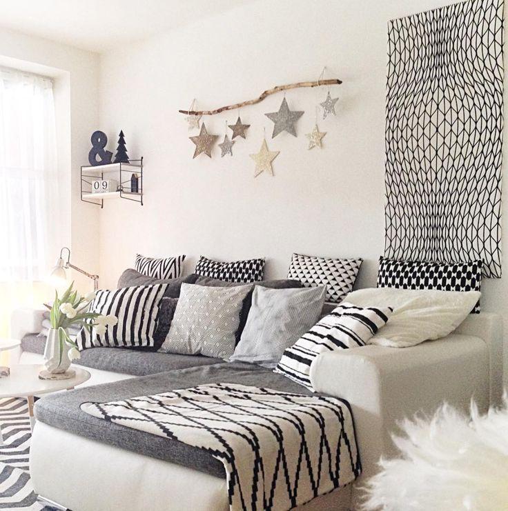 Wohnzimmerschwarzweissdekoideen Wohnzimmer grau weiß