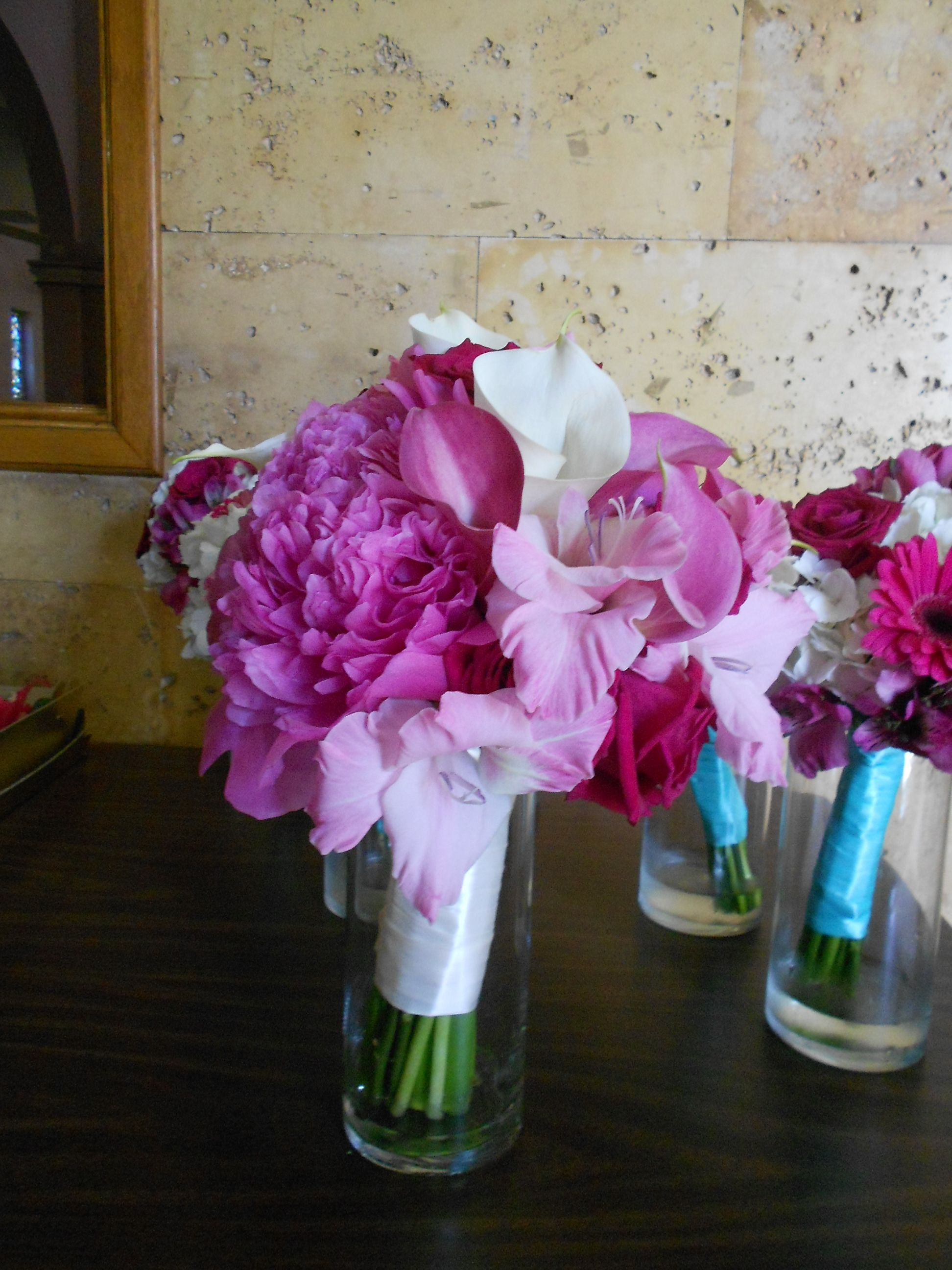 Pretty in Pink bride's bouquet by Pamela for Micheal's Flower Girl