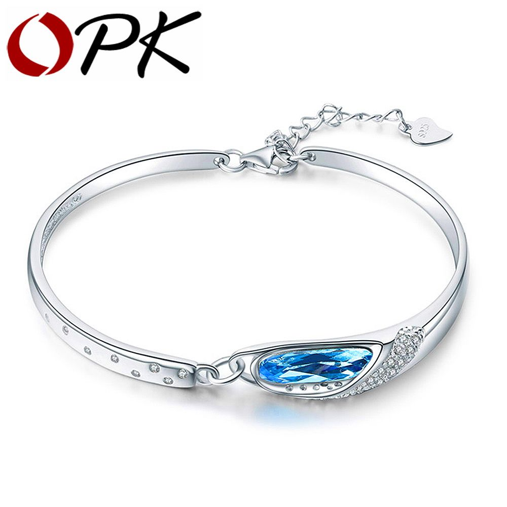 Opk 925 Sterling Silver Women's Bracelet Dazzling Azure Blue Zirconia With  Extended Link Valentines Gift For