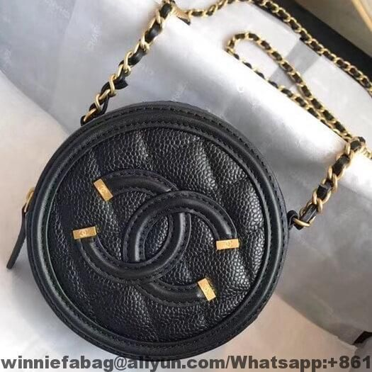 e58183a075f0 Chanel Grained Calfskin   Gold-tone Metal Round Clutch with Chain A81599  2018