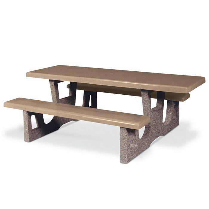 5' Rectangular Concrete Wheelchair Accessible Picnic Table ...