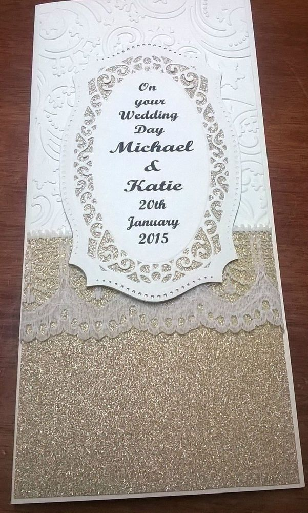 Handmade Personalised Wedding Card Cream Gold With Lace Bride Groom