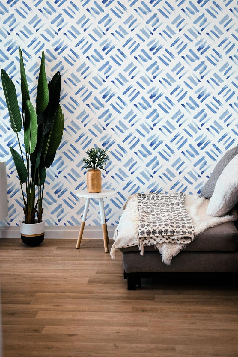 Watercolor Squares Removable Wallpaper Brush Strokes Etsy In 2020 Removable Wallpaper Diy Apartment Decor Peel And Stick Wallpaper