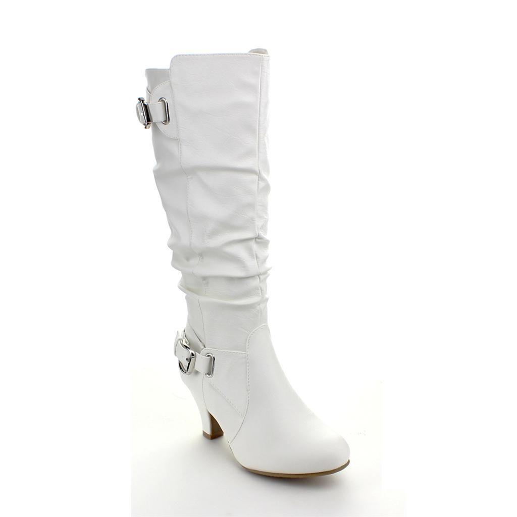 New Women S Fashion Dress Low Heel Zipper Mid Calf Knee High Boots Ebay Boots Kitten Heel Boots Women Shoes