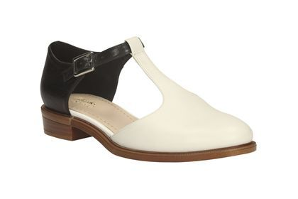Clarks Taylor Palm, Black White Lea, Womens Casual Shoes