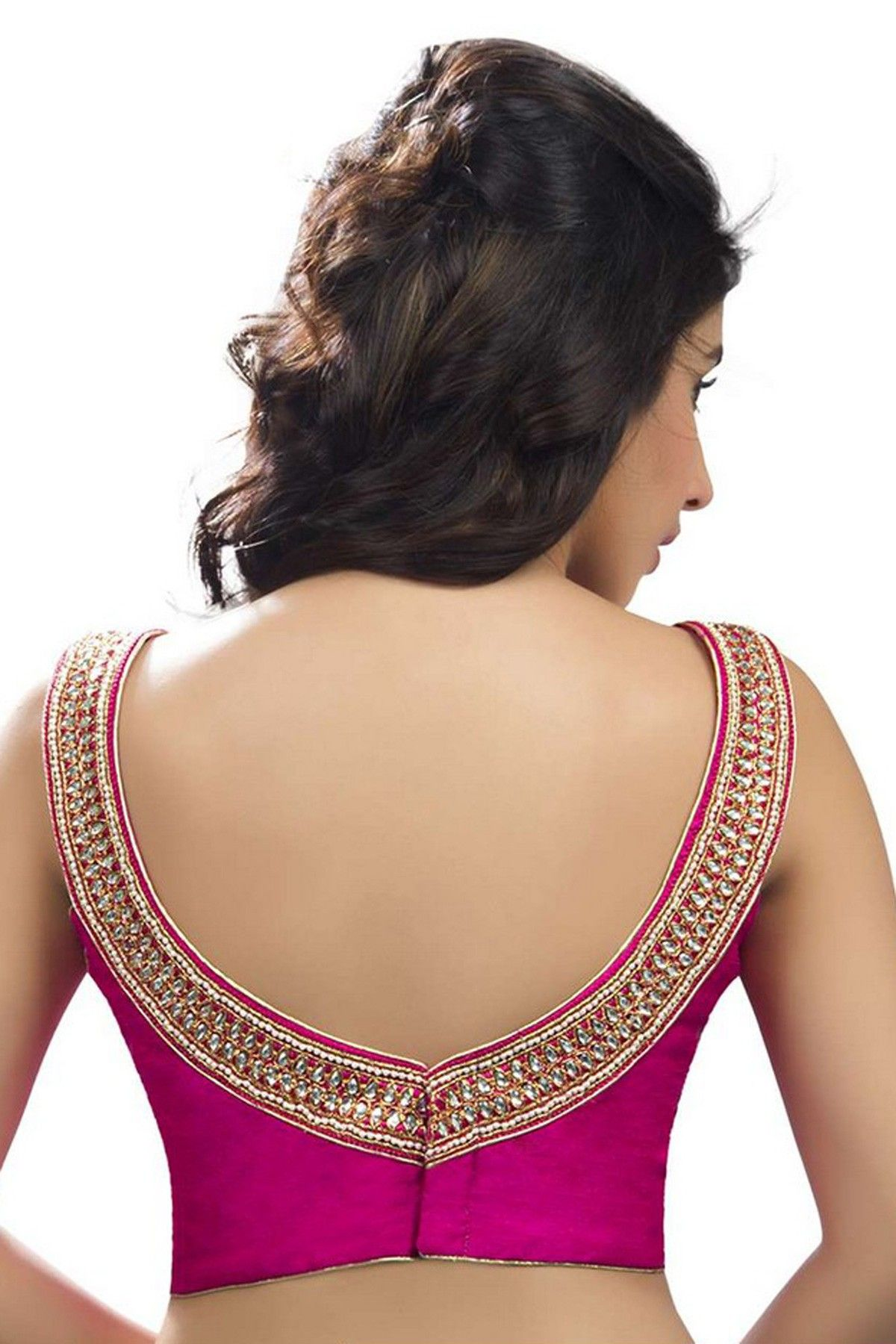 70f09d496c552a Rani #pink designer #silk sleeveless #blouse with back deep pointed round  neck -BL745
