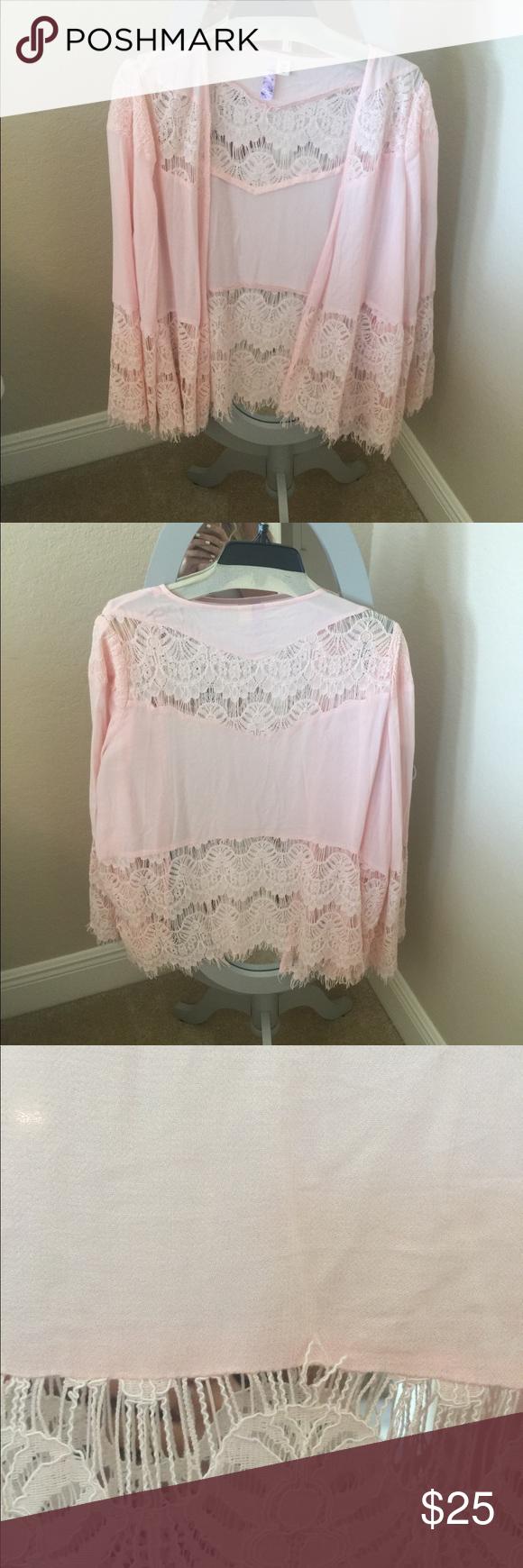 Light pink lace kimono