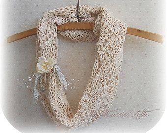 Beige Crochet Scarf Infinity Loop Circle Rustic Chic Shabby