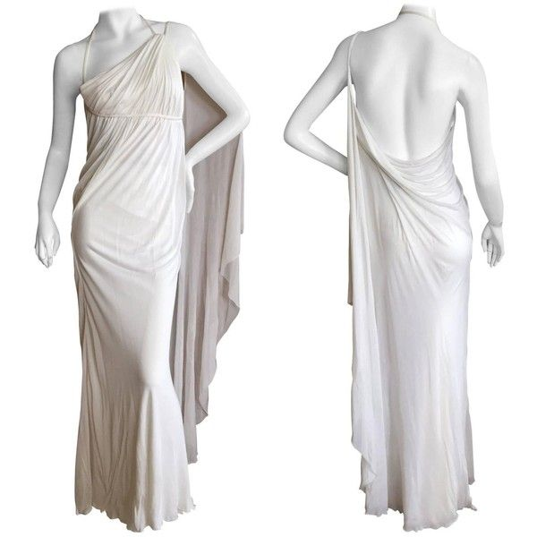 Versace Vintage White One Shoulder Godess Gown ($1,500) ❤ liked on ...