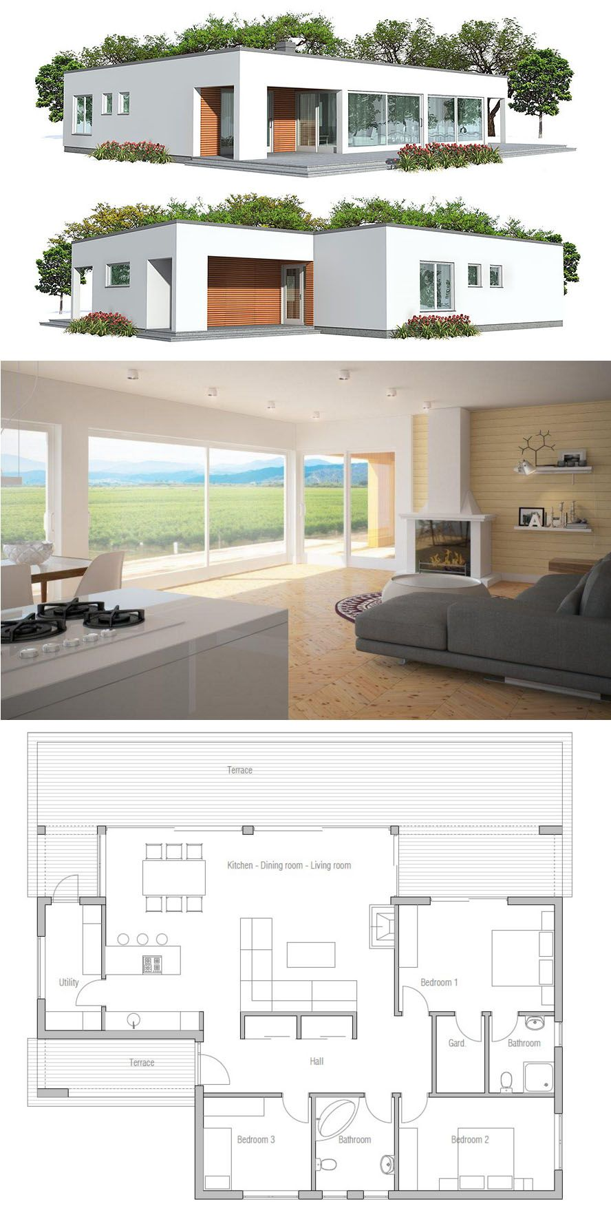 Small minimalist home plan affordable modern architecture
