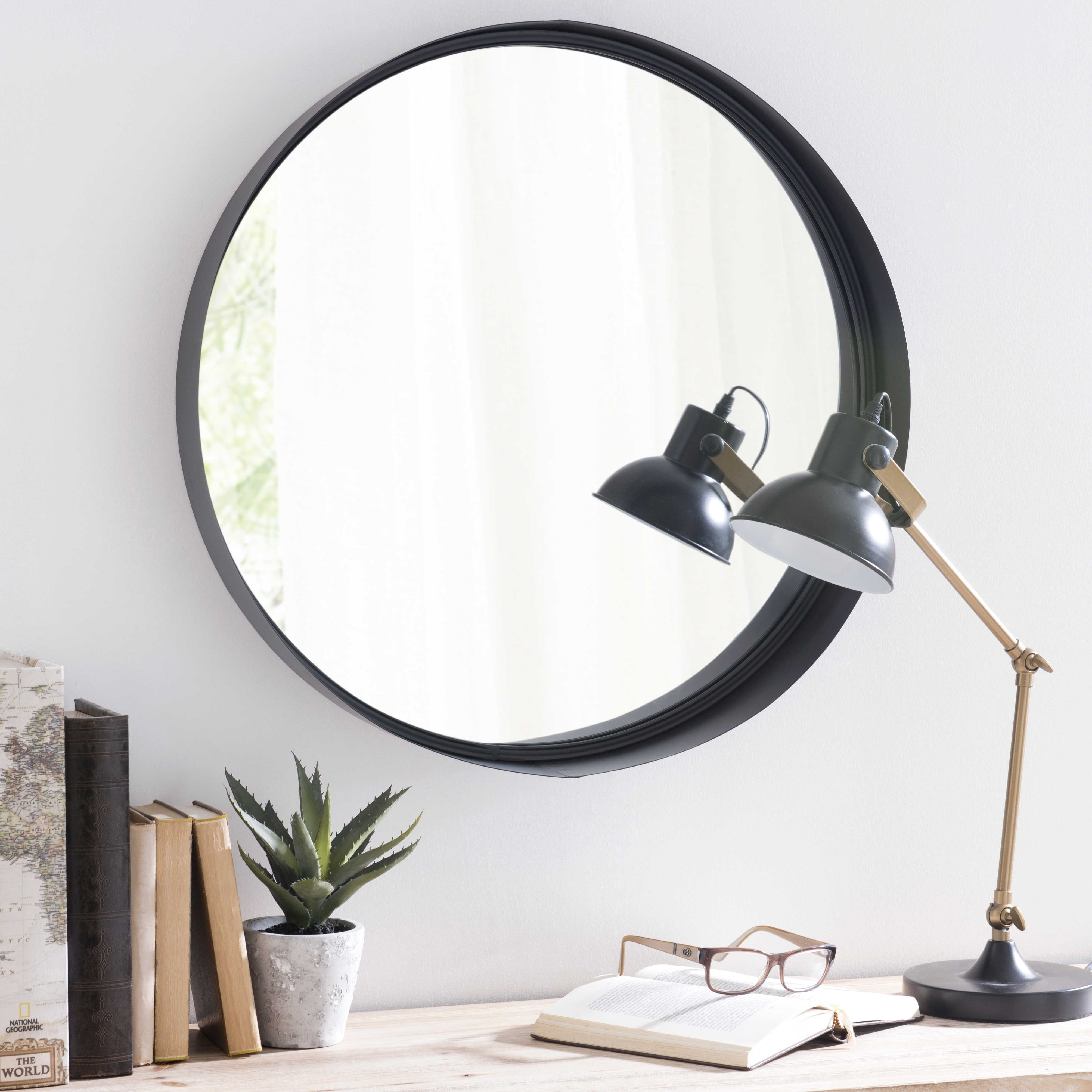 miroir en métal noir d 60 cm clifford