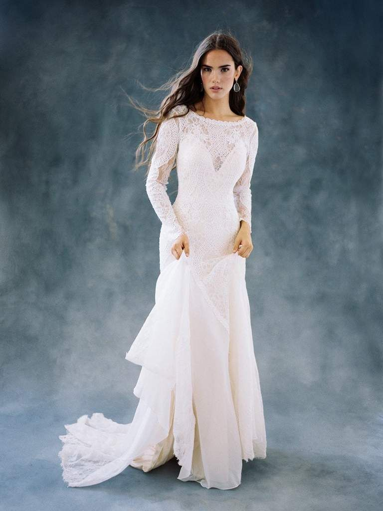 Wilderly bride by allure bridals f lace long sleeve bridal gown