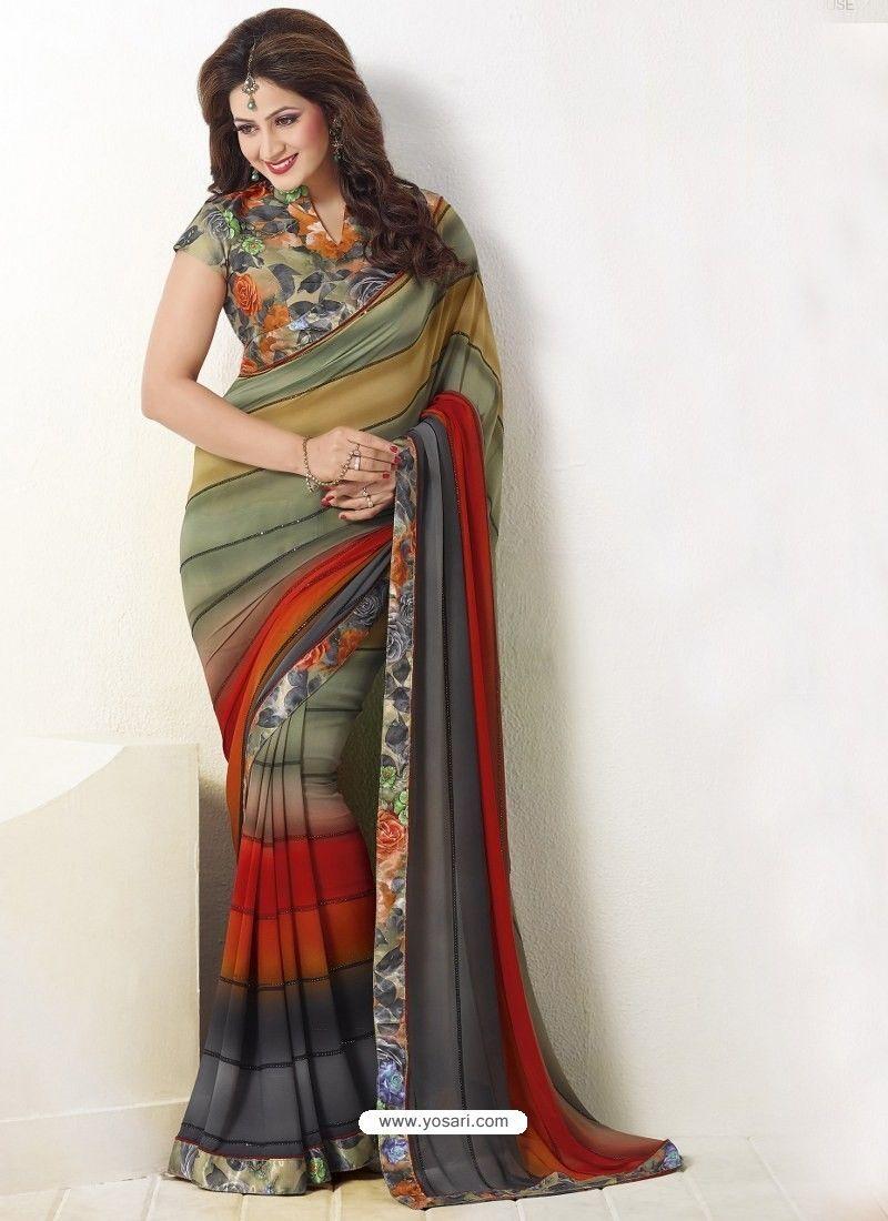 e16c60f8d Multi Colour Printed Georgette Designer Party Wear Saree