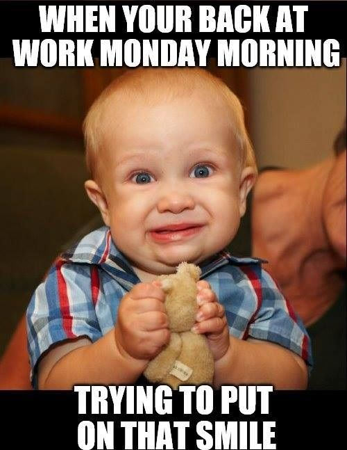 Back At Work Funny Monday Memes Work Humor Funny Kids