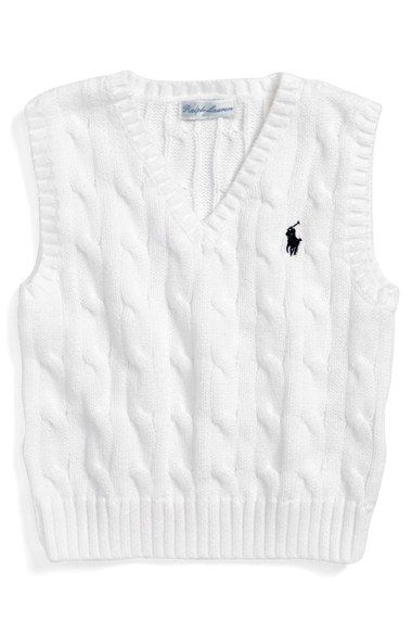 0cabeabafa03 Ralph Lauren Cable Knit Cotton Sweater Vest (Baby Boys) available at ...