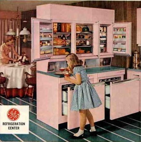Ge Wall Refrigerator Freezer A 1955 Innovation 5 Design Photos Vintage Refrigerator Retro Kitchen Pink Kitchen