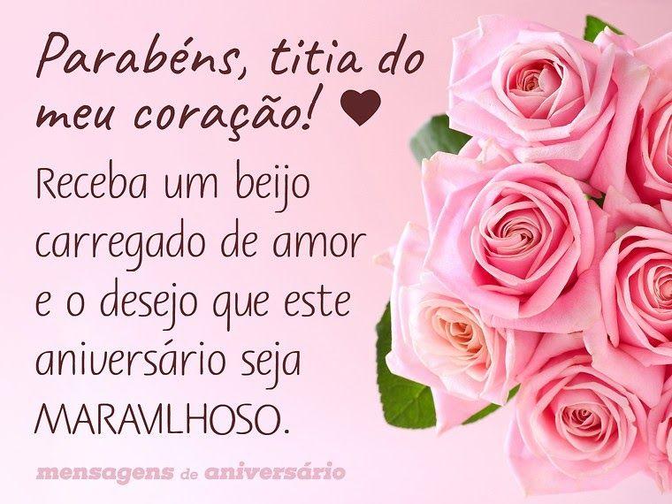Feliz Aniversário Amiga Envio Um Beijo E O Desejo De Que: Parabéns, Titia Do Meu Coração! Receba Um Beijo Carregado