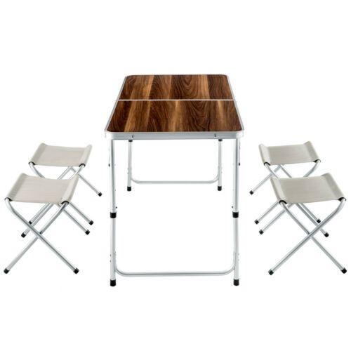 Details Sur Ensemble Table Pliante Valise Avec 4 Tabourets Camping Aluminium Pique Nique Table Pliante Table Camping Et Decoration Maison