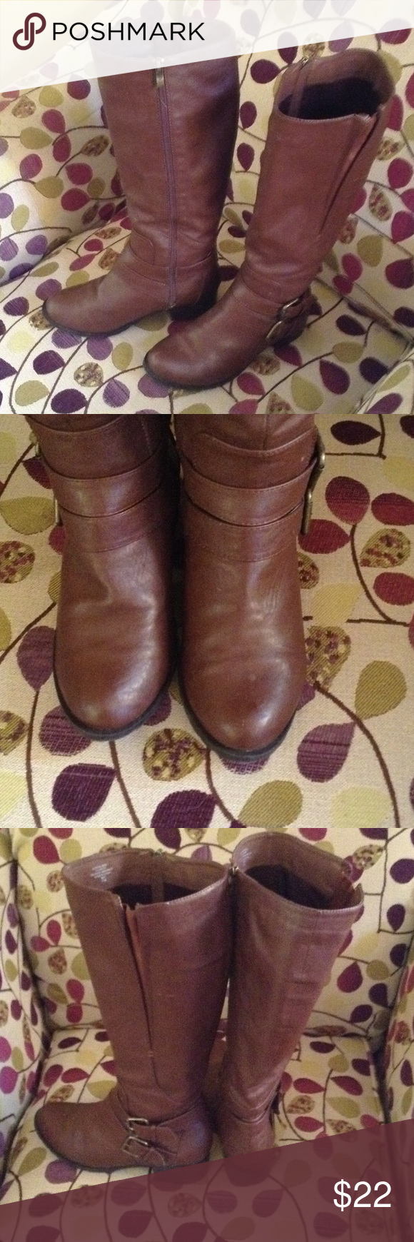 "Intaglia Brown Wide Calf Knee High Riding Boots EUC brown tall riding boots for a wide calf! Top measures 8"" so a 16"" -17"" calf would be a great fit! Side of boot has an e tea stretch panel making it even better of a wider calf 18"" would fit as well, I believe! They don't fit anymore after weight loss! Bottom tread is not worn at all so much love left! See pics  great boots! Intaglia Shoes Over the Knee Boots"