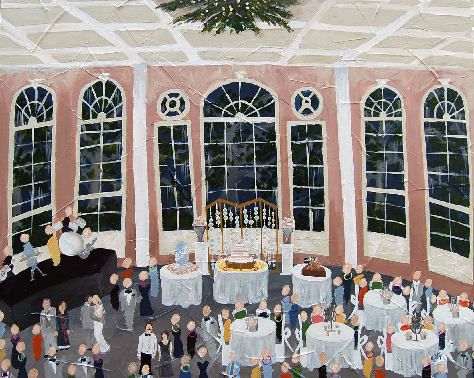 Live Event Painting At City Park Pavillion Of Two Sisters By Kristy Oustalet Neworleanswedding
