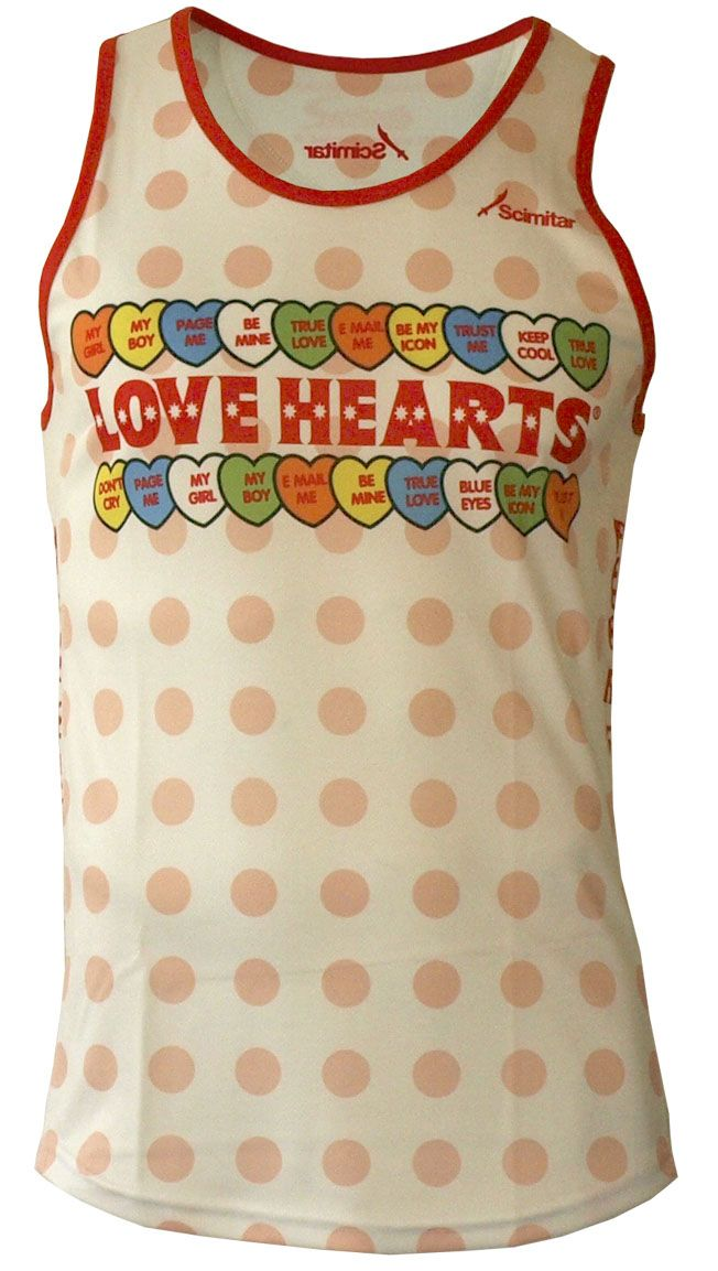Melt hearts in this retro candy-inspired technical running vest.     The simple, clean, functional cut and quick-drying performance of the Aerolite wicking fabric make the Love Hearts Running Vest an easy choice when you feel you need lasting comfort.     Ideal for long and short
