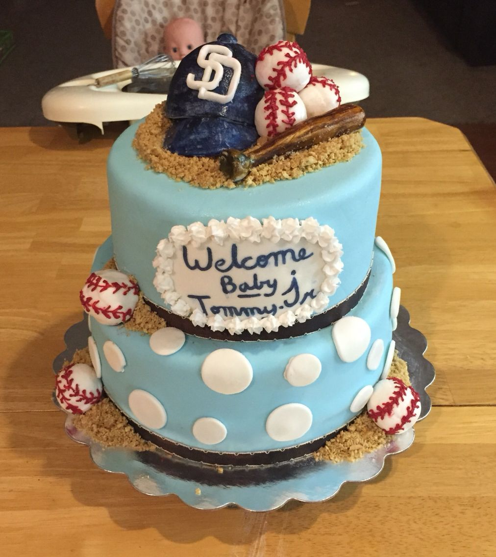 Baseball themed baby shower cake san diego padres