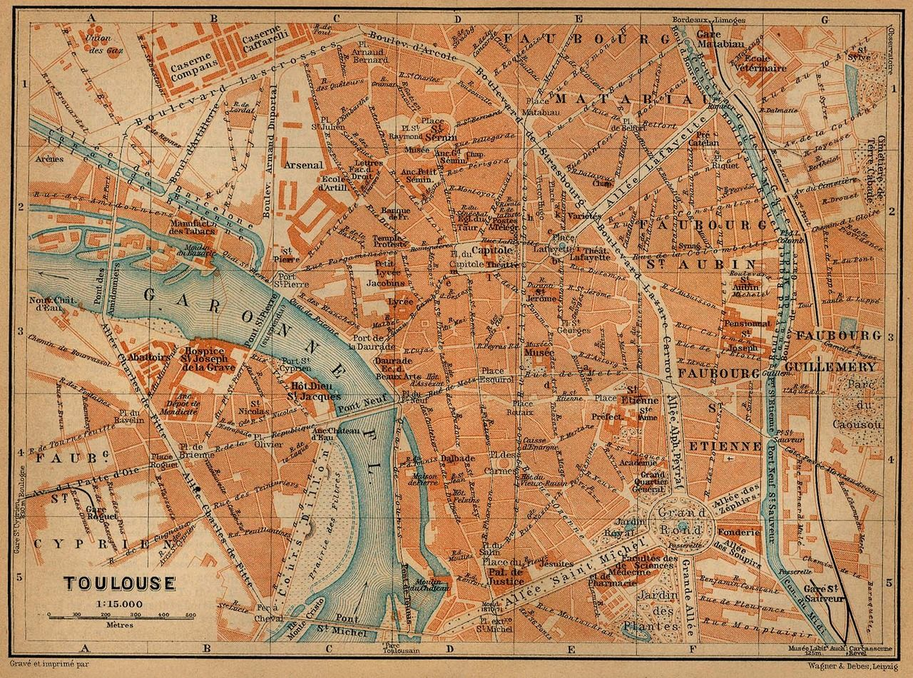 Map Of Toulouse In 1914 Carte Et Plan Toulouse Photos Anciennes