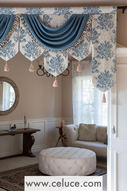 Blue Floral Palace Pelmet Style Curtain Decor Home Curtains
